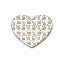 Cute Hamster Pattern Rubber Coaster (heart)  by BangZart