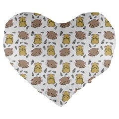 Cute Hamster Pattern Large 19  Premium Heart Shape Cushions by BangZart