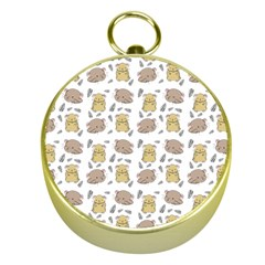 Cute Hamster Pattern Gold Compasses
