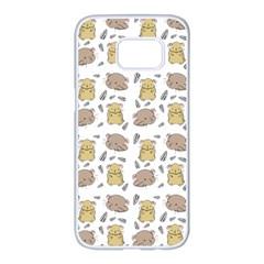 Cute Hamster Pattern Samsung Galaxy S7 Edge White Seamless Case