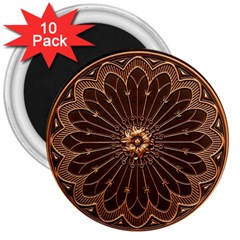 Decorative Antique Gold 3  Magnets (10 Pack)
