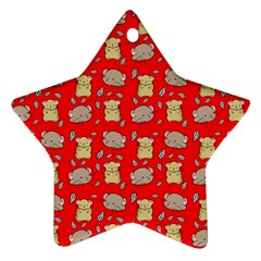 Cute Hamster Pattern Red Background Ornament (star)