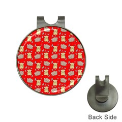 Cute Hamster Pattern Red Background Hat Clips With Golf Markers