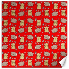 Cute Hamster Pattern Red Background Canvas 16  X 16   by BangZart