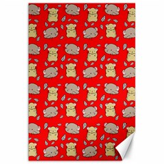 Cute Hamster Pattern Red Background Canvas 20  X 30   by BangZart