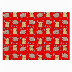 Cute Hamster Pattern Red Background Large Glasses Cloth