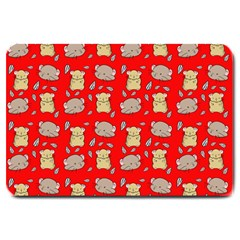 Cute Hamster Pattern Red Background Large Doormat  by BangZart