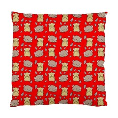 Cute Hamster Pattern Red Background Standard Cushion Case (one Side)