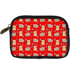 Cute Hamster Pattern Red Background Digital Camera Cases by BangZart