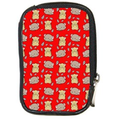 Cute Hamster Pattern Red Background Compact Camera Cases by BangZart