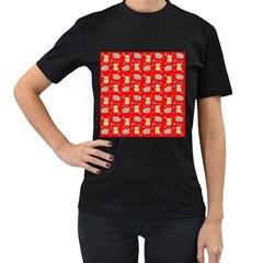 Cute Hamster Pattern Red Background Women s T Shirt (black)