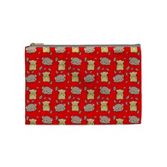 Cute Hamster Pattern Red Background Cosmetic Bag (medium)