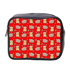 Cute Hamster Pattern Red Background Mini Toiletries Bag 2 Side by BangZart
