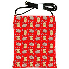 Cute Hamster Pattern Red Background Shoulder Sling Bags by BangZart