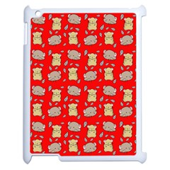 Cute Hamster Pattern Red Background Apple Ipad 2 Case (white) by BangZart