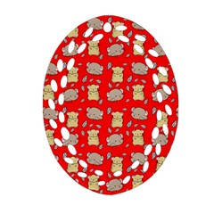 Cute Hamster Pattern Red Background Oval Filigree Ornament (two Sides) by BangZart