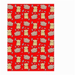Cute Hamster Pattern Red Background Small Garden Flag (two Sides)