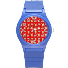 Cute Hamster Pattern Red Background Round Plastic Sport Watch (s) by BangZart