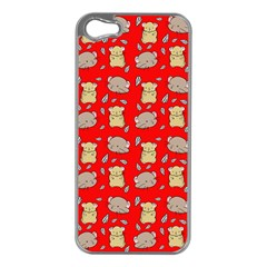 Cute Hamster Pattern Red Background Apple Iphone 5 Case (silver)