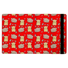 Cute Hamster Pattern Red Background Apple Ipad 3/4 Flip Case by BangZart