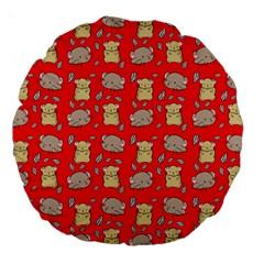 Cute Hamster Pattern Red Background Large 18  Premium Round Cushions by BangZart