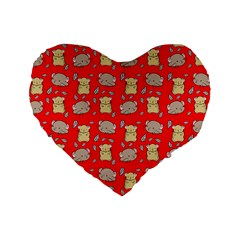 Cute Hamster Pattern Red Background Standard 16  Premium Heart Shape Cushions by BangZart