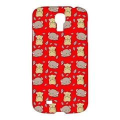 Cute Hamster Pattern Red Background Samsung Galaxy S4 I9500/i9505 Hardshell Case