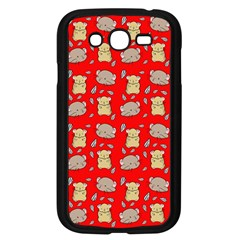 Cute Hamster Pattern Red Background Samsung Galaxy Grand Duos I9082 Case (black)