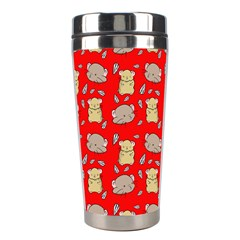 Cute Hamster Pattern Red Background Stainless Steel Travel Tumblers by BangZart