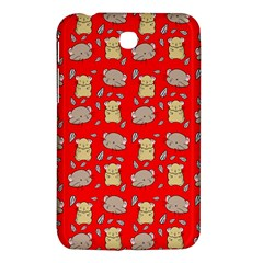 Cute Hamster Pattern Red Background Samsung Galaxy Tab 3 (7 ) P3200 Hardshell Case  by BangZart