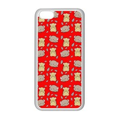 Cute Hamster Pattern Red Background Apple Iphone 5c Seamless Case (white)