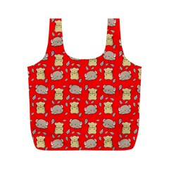 Cute Hamster Pattern Red Background Full Print Recycle Bags (m)