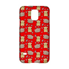 Cute Hamster Pattern Red Background Samsung Galaxy S5 Hardshell Case