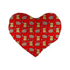 Cute Hamster Pattern Red Background Standard 16  Premium Flano Heart Shape Cushions