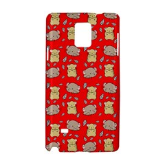Cute Hamster Pattern Red Background Samsung Galaxy Note 4 Hardshell Case by BangZart