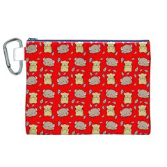 Cute Hamster Pattern Red Background Canvas Cosmetic Bag (xl) by BangZart