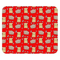 Cute Hamster Pattern Red Background Double Sided Flano Blanket (small)  by BangZart