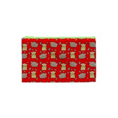Cute Hamster Pattern Red Background Cosmetic Bag (xs) by BangZart