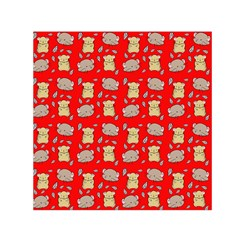 Cute Hamster Pattern Red Background Small Satin Scarf (square) by BangZart