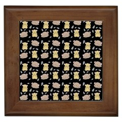 Cute Hamster Pattern Black Background Framed Tiles by BangZart