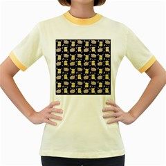 Cute Hamster Pattern Black Background Women s Fitted Ringer T Shirts