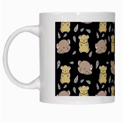 Cute Hamster Pattern Black Background White Mugs by BangZart