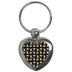 Cute Hamster Pattern Black Background Key Chains (heart)