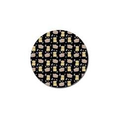 Cute Hamster Pattern Black Background Golf Ball Marker (10 Pack)