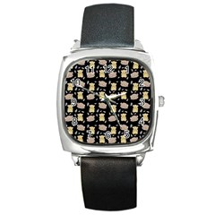 Cute Hamster Pattern Black Background Square Metal Watch