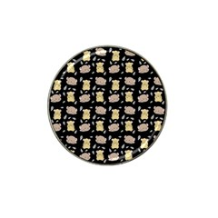 Cute Hamster Pattern Black Background Hat Clip Ball Marker by BangZart