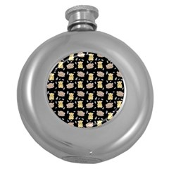 Cute Hamster Pattern Black Background Round Hip Flask (5 Oz)