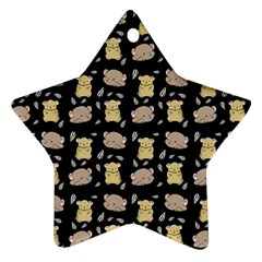 Cute Hamster Pattern Black Background Star Ornament (two Sides)