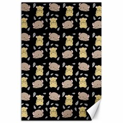Cute Hamster Pattern Black Background Canvas 20  X 30