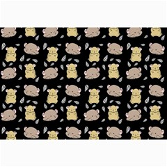 Cute Hamster Pattern Black Background Canvas 24  X 36
